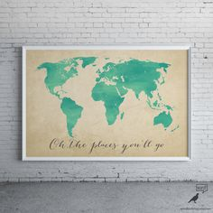 World map poster world map print love quote map of the world watercolor map oh the places youll go inspirational art nursery decor world map poster map art home decor digital watercolor painting gumiabroncs Choice Image