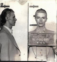 David Bowie is so insanely cool, even his mugshot is stellar.