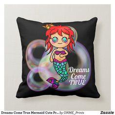 Shop Dreams Come True Mermaid Cute Princess Crown Throw Pillow created by ONME_Prints. Ocean Colors, Colours, Custom Pillows, Decorative Throw Pillows, Cute Mermaid, Girl Sleeping, Cute Princess, Heart Melting, Dream Come True