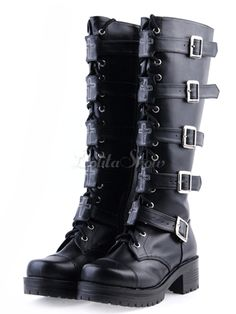 Black PU Lace Up Buckle Knee High Lolita Boots - Lolitashow.com