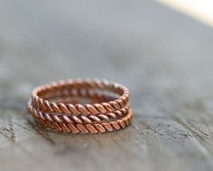 Copper twisted stacking rings diy-art-projects