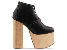 Deandri Ginger Platforms in Black On Black Wood at Solestruck.com