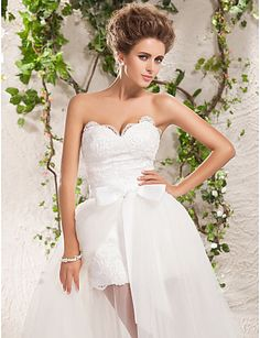 Wedding Dress A Line Floor Length Two In One Tulle Sweetheart and Strapless With Lace Appliques and Removable Train – USD $ 249.99