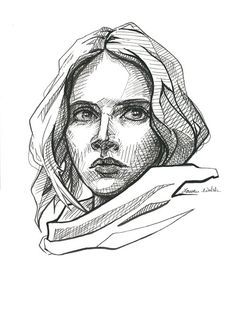 Jyn Erso Star Wars Rogue One. Pen and Ink on paper. Print available at www.Laurenwalshgallery.etsy.com