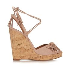 Aquazzura Wild One tasselled suede wedge sandals ($503) ❤ liked on Polyvore featuring shoes, sandals, nude, strappy sandals, slingback sandals, open toe sandals, strappy wedge sandals and strap wedge sandals