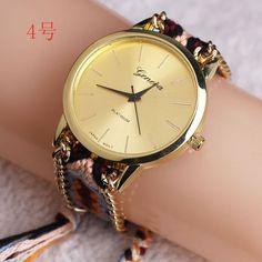 10pcs/lot Women Weave Quartz Watches Ladies Colorful Braided Ribbon Geneva Wrist Watches Handmade Analog Friendship Watches #About_Friendship, #Beautiful