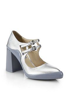 Prada Metallic Leather Rubber-Dipped Mary Jane Pumps (=)