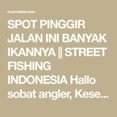 SPOT PINGGIR JALAN INI BANYAK IKANNYA || STREET FISHING INDONESIA Hallo sobat angler, Kesempatan kali ini saya mancing di daerah pamanukan subang, spotnya ... Fishing Videos, Street, Walkway