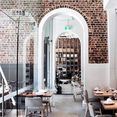 "Alpha Restaurant, Sydney ""Light and bright. Love the exposed brick. Café Restaurant, Restaurant Design, Luxury Restaurant, Restaurant Interiors, Cafe Shop, Cafe Bar, Commercial Design, Commercial Interiors, Hospitality Design"