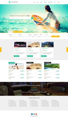 website template design for tourism companies on behance