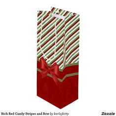 Rich Red Candy Stripes and Bow Wine Gift Bag