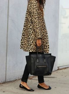 leopard coat and black jeans