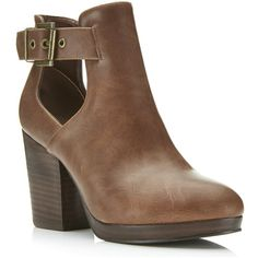 Miss Selfridge AMOUR Tan Cut Out Ankle Boots ($70) ❤ liked on Polyvore featuring shoes, boots, ankle booties, tan, buckled cutout booties, buckle booties, cut-out ankle boots, faux leather boots and faux leather booties