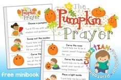 Free Pumpkin Prayer Book for Kids! Print this colorful prayer for Halloween Sunday School Lessons and remind children to SHINE for Jesus!!