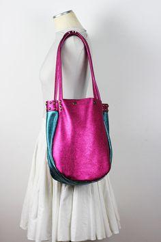 Metallic Leather Tote Bag/Metallic Pink Leather by NeroliHandbags