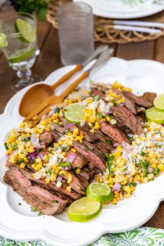 Backyard Grilling Party: Grilled Skirt Steak with Street Corn Salsa | Pizzazzerie Grilled Skirt Steak, Grilled Beef, Grill Party, How To Cook Beef, Corn Salsa, Street Corn, Beef Recipes, Recipies, Southern Recipes