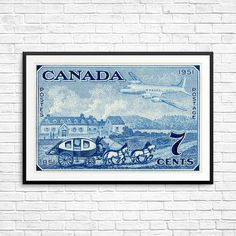 Canada Post, Canada Postage, stagecoach print, airmail print, airplane art, 1950s art, fine art etching, large fine art print, blue wall art