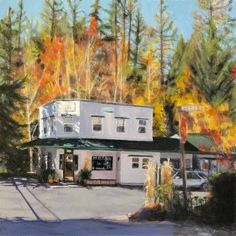 Outside Inn, Nevada City Motel, painting by Roseanne Burke Nevada City California, Grass Valley, Motel, Lodges, Places Ive Been, The Outsiders, Cottage, Vacation, Painting