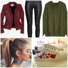 Green Hoodie Leather Pants Spring Outfit