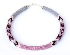 Exclusive jewelry by Elena Rusinovich -bead crochet rope, crochet with beads