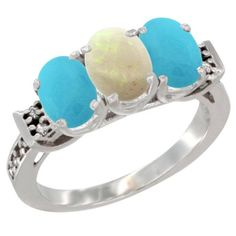 10K White Gold Natural Opal and Turquoise Sides Ring 3-Stone Oval 7x5 mm Diamond Accent, sizes 5 - 10 ** Special  product just for you. See it now! : Ring Bands