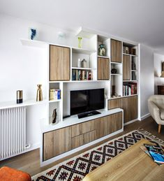 Bibliotheque Design, Tv Storage, Living Room Tv, Architecture Plan, Tv Unit, Ground Floor, Contemporary Furniture, Bookcase, Shelves