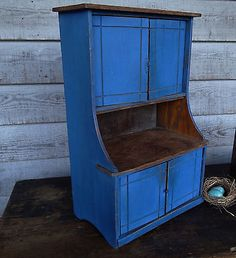 Vintage Primitive Miniature Stepback Cupboard Old Style Blue Paint Patina Old Cabinets, Cupboards, Primitive Antiques, Vintage Antiques, Primitive Painted Furniture, Blue Matter, Antique Cupboard, Prim Decor, Antique Tools