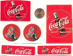Small Lot Collection Coca Cola Stickers Various Size and Shapes
