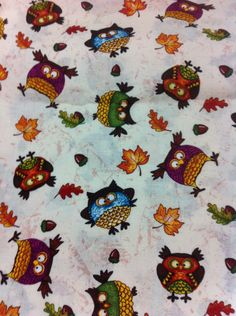 Acorns and Owls Cotton Fabric/Sewing Craft Supplies / Home Decor/ Quilting/Seasonal Print Fabric - pinned by pin4etsy.com