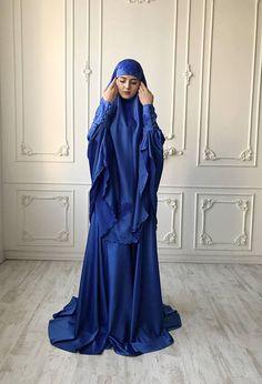 Elegant royal blue Muslim suit, Silk blue jilbab, wedding khimar, engagement islamic dress, nikah outfit, lace burqa Hijab Dress Party, Hijab Style Dress, Beautiful Hijab, Beautiful Dresses, Skirt Fashion, Hijab Fashion, Hijab Stile, Muslim Women Fashion, Hijabi Girl