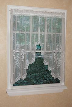 The polyester Cameo Rose Lace Window Treatment has a traditional lace motif and nicely textured ground. White Lace Curtains, Lace Curtain Panels, Country Curtains, Panel Curtains, Swag Curtains, Tier Curtains, Flower Header, Lace Window, Houses