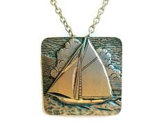 Vintage Pewter Pendant Necklace Sailboat by WeeLambieVintage