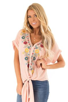 e5bcc955a443ba Salmon Floral Print 3 4 Puff Sleeve V Neck Top with Raw Hem in 2019 ...