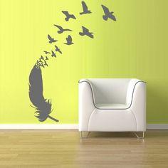 Wall Vinyl Sticker Decals Decor Art Feather Decal Birds (z1202)