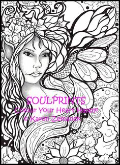 Adult Colouring Page; Teen Coloring Page; Printable Colouring Page; Instant PDF Colouring Page; Digital Download; Fairy Art, Color Flowers