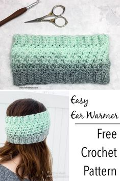 Crochet Wintermint Ear Warmer - Free One Skein Scarfie Pattern : Use this free crochet pattern to make a fast and easy ear warmer or headband. This pattern uses Lion Brand Scarfie yarn or your favorite yarn to create a head band with beautiful texture. Crochet Ear Warmer Pattern, One Skein Crochet, Crochet Scarves, Crochet Patterns, Crochet Ear Warmers, Crochet Headband Free, Knitted Headband, Free Crochet, Crochet Beanie