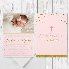 Beautiful Christening / Baptism photo invitation for a little girl designed & printed on double sided card by Peach Perfect Australia. Gold Glitter Love!