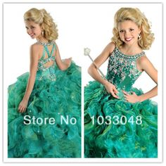 New Fashion Cheap Crystals Beaded Cute Kids Ball Gown Emerald Green Birthday Party Flower Girl Pageant Dresses For Weddings 2014 US $59.00