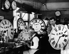 A group of employees at the Great Western Railway's signal works in Reading, Berkshire test and repair some of the company's many clocks in 1934. The Great Western Railway connected London with the southwestern and southeastern parts of the United Kingdom. It was founded in 1833 and closed in 1947. (Harry Todd/Getty Images)