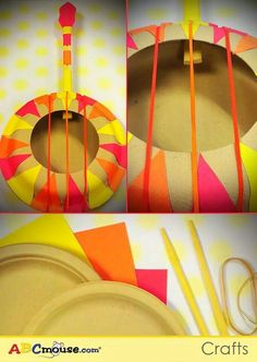 use paper plates, chopsticks, rubber bands, and construction paper to decorate