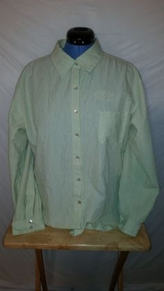 Chico's Womens Long Sleeve Green White Striped Button Up Blouse Top Sz 3 #Chicos #Blouse