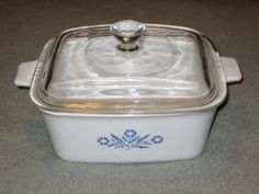 Vintage Corning Ware 1 12 Quart Cornflower Blue Rectangle Baking Dish Casserole w Lid  Made In USA P4B