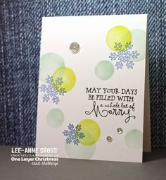Handmade Christmas card by Lee-Anne Cross using the Merry & Bright set from Verve.  #vervestamps