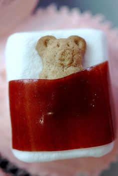 Teddy bear nap made with Teddy Graham, fruit roll, and marshmallow