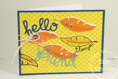 Card by PS DT Erin Lincoln using PS Feathers dies along with the Hello and Friend Word dies