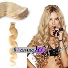 "20"" 50G Russian Slavic Double Drawn 7A* Grade Human Hair Extension Wavy Tape-In"