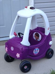 Bought a cozy coupe cop car at a yard sale for $10 and turned it into a Doc McStuffins ambulance for my granddaughter