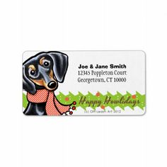 Smooth Black Tan Dachshund Christmas Personalized Address Labels   Click on photo to purchase. Check out all current coupon offers and save! http://www.zazzle.com/coupons?rf=238785193994622463&tc=pin