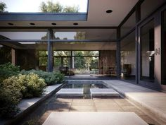 """Pro of the week from Bertrand Benoit """"Based on Hodgson House, a private home by Philip Johnson. It is located in New Canaan, Connecticut, just a stone's throw from Johson's Glass House """" Philip Johnson, Amazing Architecture, Architecture Details, Interior Architecture, Interior And Exterior, Classic Architecture, 3d Architectural Visualization, Architecture Visualization, Cgi"""