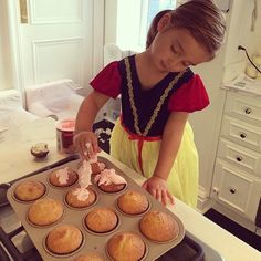 Pin for Later: Soleil, Rachel, Ivanka, and More Celeb Moms Shared Some Sweet Snaps of Their Tots This Week!  Arabella Kushner made some cupcakes to celebrate giving up her sippy cup. Source: Instagram user ivankatrump
